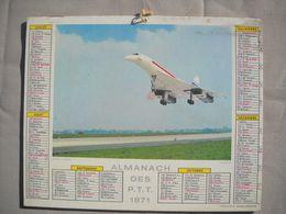 1616 Calendrier Du Facteur PTT 1970   Illustration  Avion Concorde   , Grasse Alpes Maritimes - Calendars