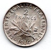 Semeuse  /  2 Francs 1914 C  --   état  TTB+ - I. 2 Francs