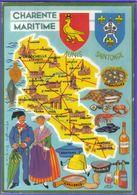 Carte Postale Géographique  Département 17. Charente Maritime  Très Beau Plan - Mapas