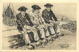 - Finistère- Ref-E669- Audierne - Vieux Pêcheurs Assis - Illustrateur Homualk N°36- Illustrateurs -edit. Gaby - - Audierne