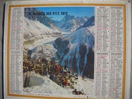1617 Calendrier Du Facteur PTT 1972   Illustration  Bessans Savoie,  La Flègére Et La Mer De Glace - Calendars