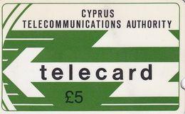 CYPRUS(GPT) - CYTA Logo 5 Pounds(deep Notch), CN : 6CYPA, Tirage %40000, Used - Chypre