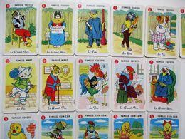 26 CARTES DE JEU DE 7 SEPT FAMILLES LES ANIMAUX CHIEN CHAT COQ POULE CANARD LAPIN CHEVRE COCHON LAITERIE BAYEUX - Jeux De Société