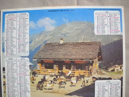 1620 Calendrier Du Facteur PTT 1977   Illustration Lindarets Près De Morzine   Chèvres, - Calendars