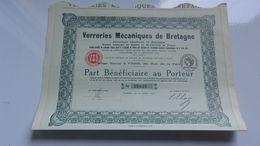 VERRERIES MECANIQUES DE BRETAGNE (1925) - Actions & Titres