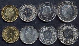 Switzerland Swiss 5 10 20 50 Rappen 2010 UNC (Set 4 Coins) - Suiza