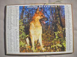 1622 Calendrier Du Facteur PTT 1975   Illustration Chien Loup , Petite Fille Et Son Chat - Calendars