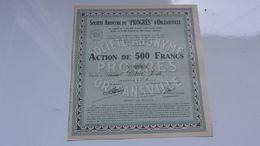 """""""PROGRES"""" D'ORLEANSVILLE (1945) ALGERIE - Actions & Titres"""