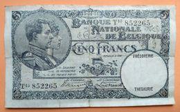 Billet De 5 Francs Banque Nationale De Belgique Type Albert Et Elisabeth - Autres