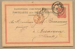 Entier Postal à 10 Pf Oblitéré Molsheim 27 Décembre 1879 REPIQUÉ (Coulaux & Cie) Pour Besançon - Marcophilie (Lettres)