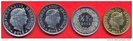 Switzerland Swiss 5 10 20 50 Rappen 2012 UNC (Set 4 Coins) - Suisse