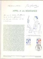 France Document 1er Jour 1990 Histoire Général De Gaulle Appel à La Résistance - 015 - Postdokumente
