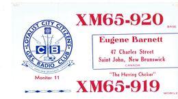 Old QSL From Eugene Barnett, Charles Str, Saint John, N.B., Canada, XM65-920 (Apr 1968) - CB