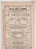 Affiche Aix Les Bains 1907 Villa Des Fleurs  Le Trouvère Opéra Cossira Claessens Moore Hendrikx Javid - Affiches
