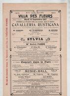 Affiche Aix Les Bains 1907 Villa Des Fleurs Opéra Cavallera Rusticana Cossira Claessens Moore Sylvia Fabris Mô - Affiches