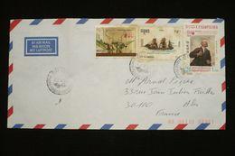Lettre Mixte Cambodge Kamuchéa Surchargé Provisoire Phnom Penh 23/9/91 Vers France - Kampuchea