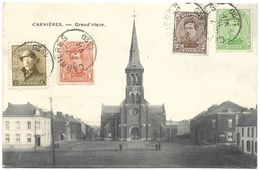 Carnières – Grand'Place – Year 1920 – With Stamps Of King Albert - La Louvière