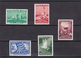 Cuba Nº 231 Al 235 Manchas En La Goma - Unused Stamps