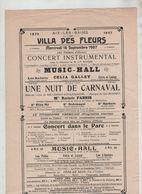 Affiche Aix Les Bains 1907 Villa Des Fleurs Concert Instrumental Music Hall Radnitz Galley Estio Luigy - Affiches