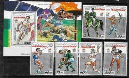 &BAR 38& MAURITANIA MICHEL 970/975+BL 72 MNH**, OLYMPIC GAMES BARCELONA 92, TABLE TENNIS, HORSE RIDING. - Mauritanie (1960-...)