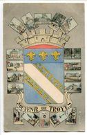 CPA 1909 * SOUVENIR De TROYES Dominée Par La BLASON Entouré De Petites Cartes Multivues - Troyes