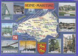 Carte Postale Géographique  76. Seine Maritime   Très Beau Plan - Mapas