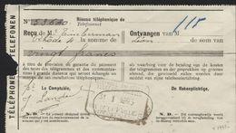 TELEPHONE BRUXELLES / RUE DE LA PAILLE Sur Reçu 1923 (x199b) - Telephone