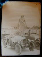 Négatif Souple Photographie Mlle RAHNA Femme Pilote Sur Sa TALBOT ( ? ) à MONTLHERY En  1927 - Automobile