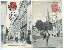 LOT 2 CPA FONTENAY Le COMTE 1907 * La Grand'Rue ( Grande Rue ) & Clocher De Notre Dame * Animées - Fontenay Le Comte