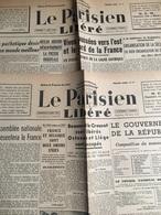 2 N° Du Parisien Libéré 1944 :  N° 11 Du 01/09/44 : Vives Poussées Vers L'est & Le Nord De La France (1 Feuillet-Jauni- - Journaux - Quotidiens