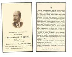 627. JOSEPH -MARIE- T.  NICOLAI  - Dokter In De Geneeskunde - ° WILDEREN 1872  / +ST-TRUIDEN 1942 - Devotion Images