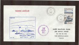- TAAF PO112 Du 1.1.1985 TERRE ADELIE,première Date Et Illustration PAUL EMILE VICTOR (PORT-MARTIN) - Cartas