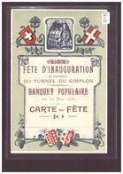 FORMAT 10x15cm - FETE D'INAUGURATION DU TUNNEL DU SIMPLON 1906 - CARTE DE FETE - B ( PLI HORIZONTAL ) - VS Valais