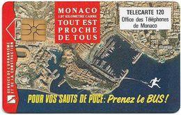 Monaco - MF49 - Prenez Le Bus - Cn. B2C0Q00007, Gem1A Symm. Black, WITH Transp. Moreno, 01.1993, 120Units, 100.000, Used - Mónaco