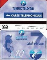 Tunisia - Tunisie Telecom - URMET - Map Of Tunisia, 25Units, 1998, Used - Tunisie