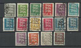 Estland Estonia 1928/1929/1935 Michel 74 - 86 & 106 - 107 O Lions Coat Of Arms Wappe - Estland