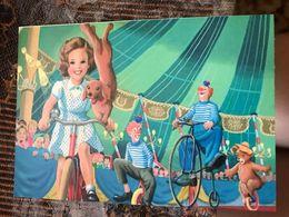 Dachshund - Dachshound - Teckel - Dackel - Bassotto - Marcel Marlier - Bicycle - Circus - Modern Ukrainian Postcard - Cani