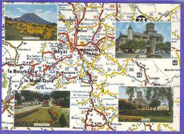 Carte Postale Géographique D'aprés Carte Michelin N°73  Basse Auvergne  Clermont Ferrand Mont Dore  Royat Bourboule - Mapas