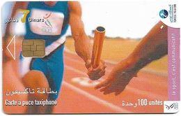 Tunisia - Tunisie Telecom - Le Sport C'est Communicatif, Athletics, 100Units, 2003, Used - Tunisie