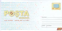 """ROMANIA 2020: CORONA VIRUS, COVID-19 """"STAY HOME, WE WILL COME TO YOU!"""" Unused Prepaid Cover - Registered Shipping! - Malattie"""