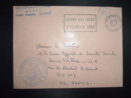 LETTRE OBL.MEC.27-12 1967 35 RENNES RP ILLE ET VILAINE DIRECTION DE L'INTENDANCE De La 3e R.M.+INTENDANCE N. LAVERGNE - Postmark Collection (Covers)
