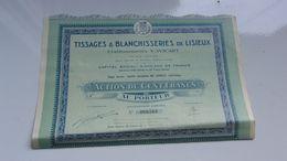 TISSAGES & BLANCHISSERIES De LISIEUX (V. WICART) CALVADOS - Actions & Titres