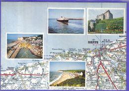 Carte Postale Géographique D'après Carte Michelin N°52  Seine Maritime   Dieppe Et Ses Environs - Mapas