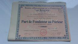 Exploitation De La Fermeture LE SPHINX (1920) Nice - Actions & Titres