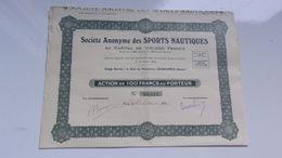 SPORTS NAUTIQUES (1934) SURESNES - Actions & Titres