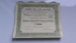 UNION DES VINS BLANCS (auriach & Zunino) MARSEILLE (1929) - Actions & Titres