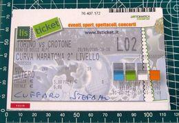 Biglietto  Ticket TORINO Vs CROTONE Curva Maratona Stadio Delle Alpi  20/09/2005 - Tickets D'entrée