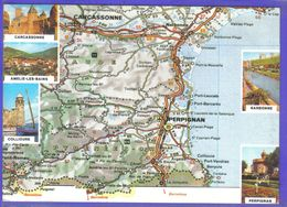Carte Postale Géographique D'après Carte Michelin N°999 Languedoc Roussillon Carcassonne Perpignan Et Ses Environs - Mapas