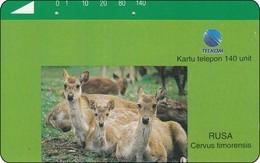Indonesien Phonecard Tamura Rehe Dammwild Deern - Indonésie