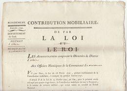"""Révolution, Gard ,1792  Contribution Mobiliaire """"De Par La Loi Et Le Roi (barré) 2 Scans - Documenti Storici"""